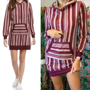 NEW Bebop Hoodie SweaterDress Burgundy Stripe